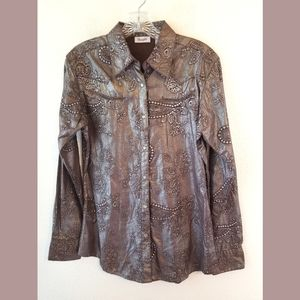 Wrangler Western Shiny Embossed Snap Shirt Small
